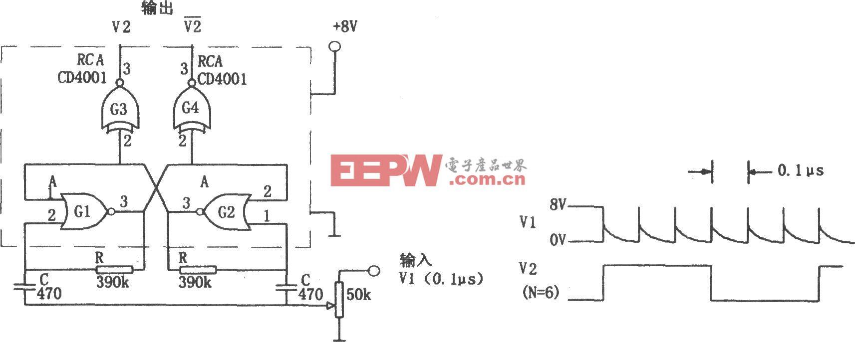 由CMOS门构成的可调分频器(CD4001)