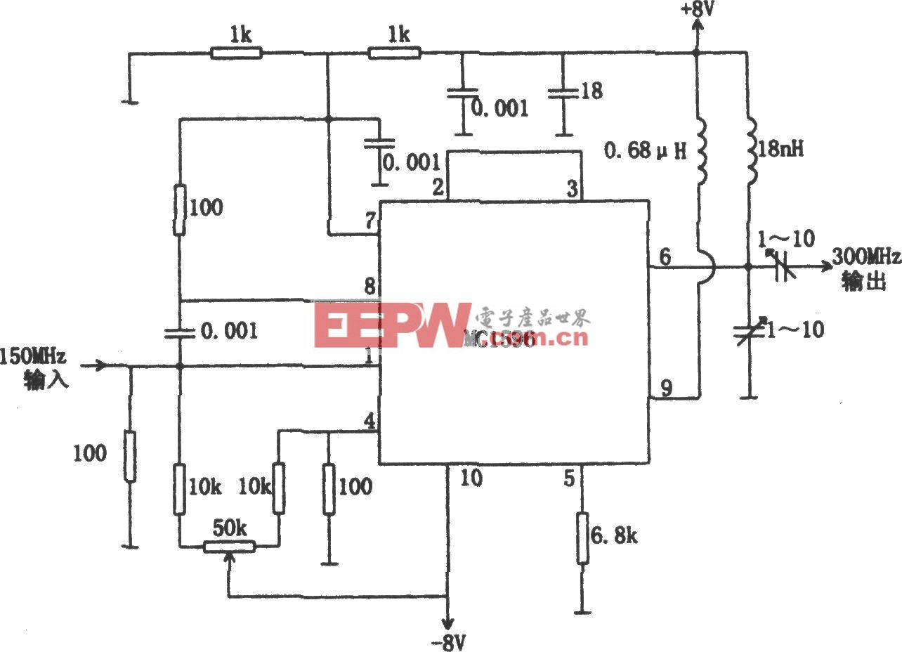 MC1596構成的150-300MHz倍頻器