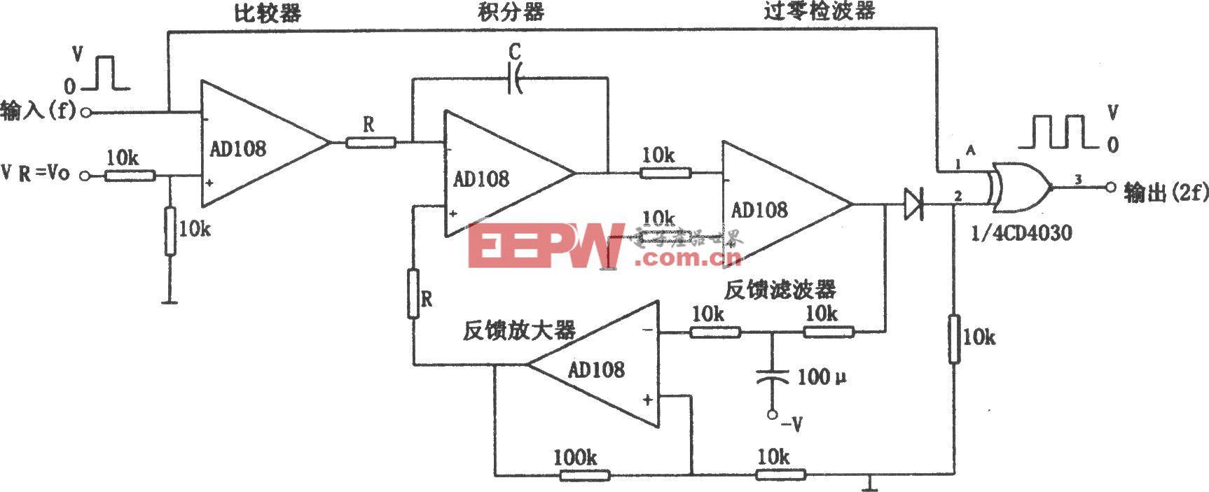 AD108构成的可输入非对称方波的倍频器