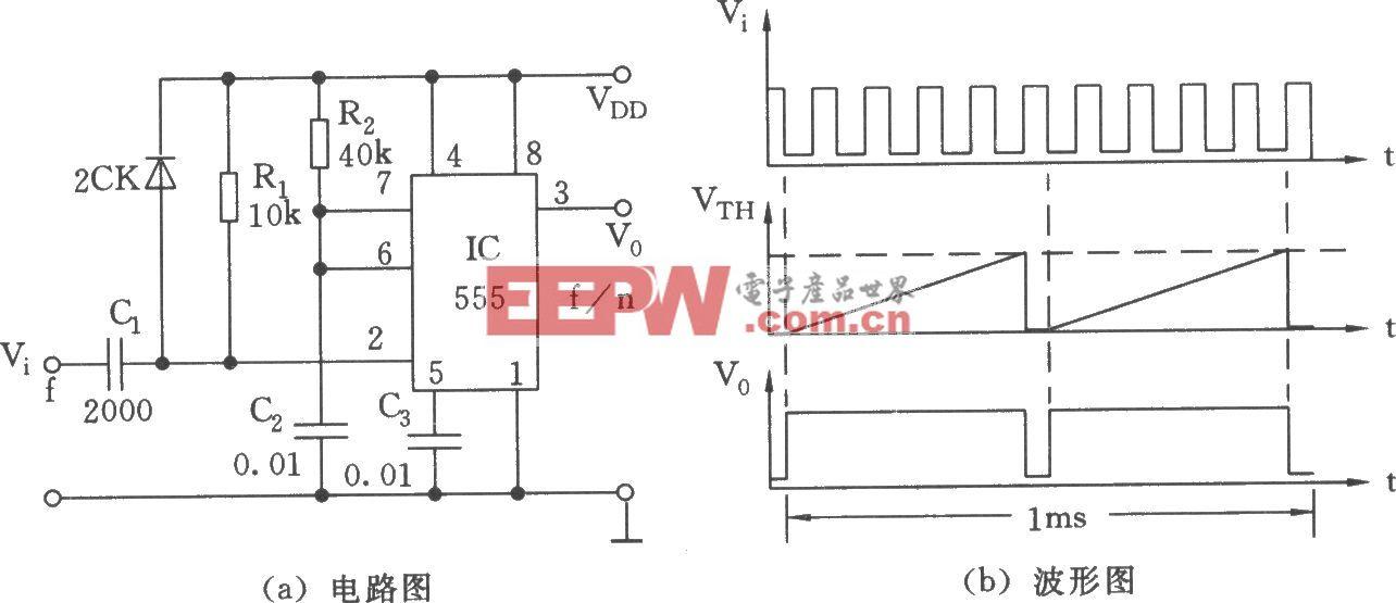 555构成的单稳电路用作分频器