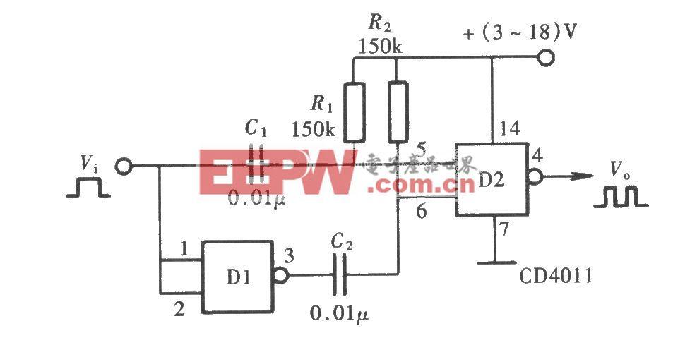 用门电路组成的脉冲倍频器(CD4011)