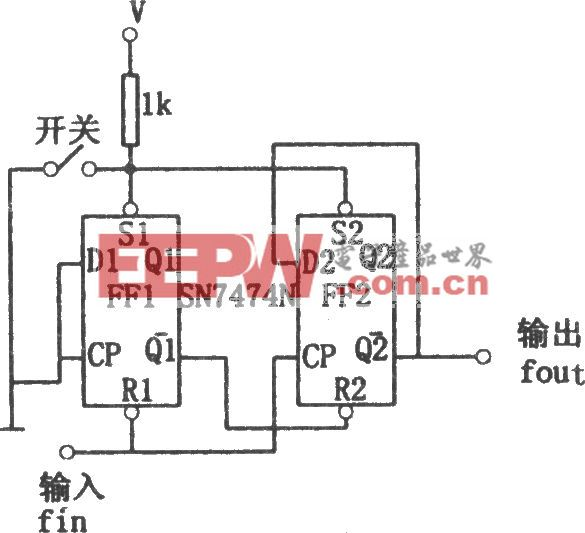 SN7474N构成简单的分频电路