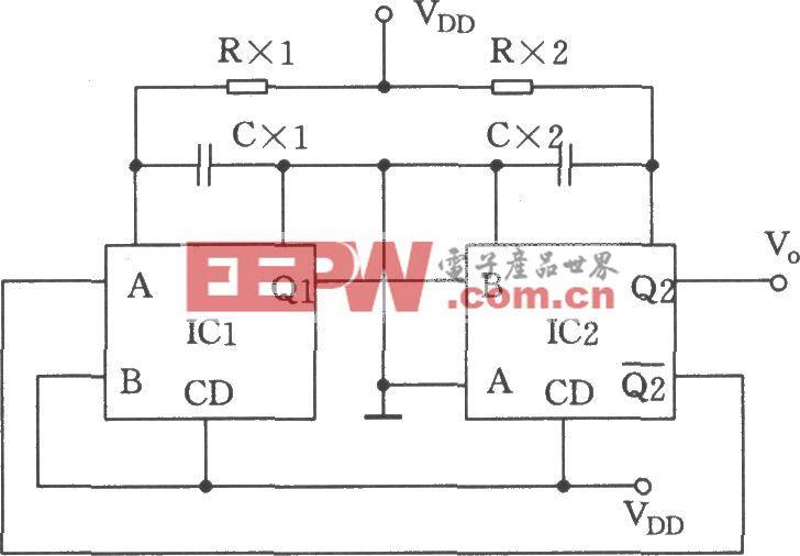 用双单稳态触发器CC4528构成的占空比和频率可调的多谐振荡器