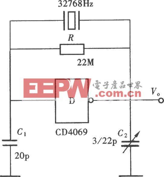 用门电路组成的石英晶体振荡器(CD4069)