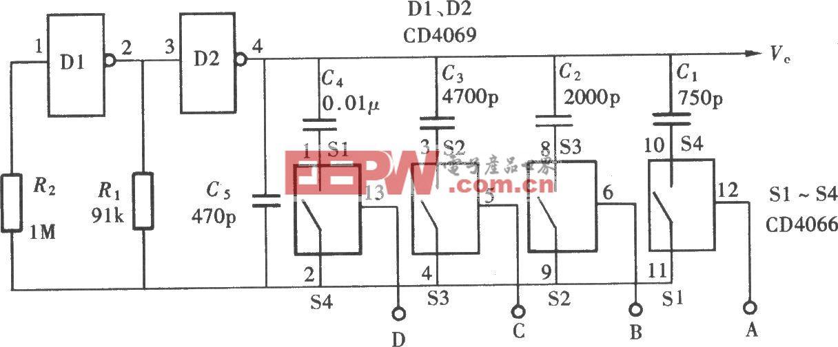 用门电路组成的数控振荡器(CD4066、CD4069)