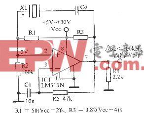 比较器LM311N构成的晶体振荡器