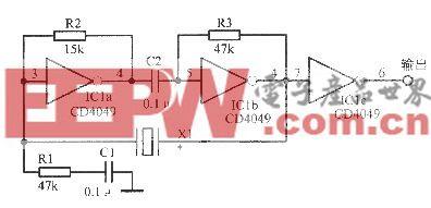 由反相器组成的晶体振荡电路