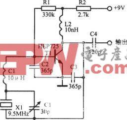 9.5MHz可调晶体振荡器