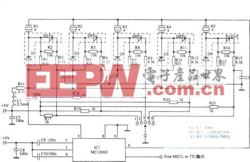 利用开关二极管构成频率可变晶体振荡器