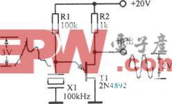 100kHz晶体一单结晶体管弛张振荡器