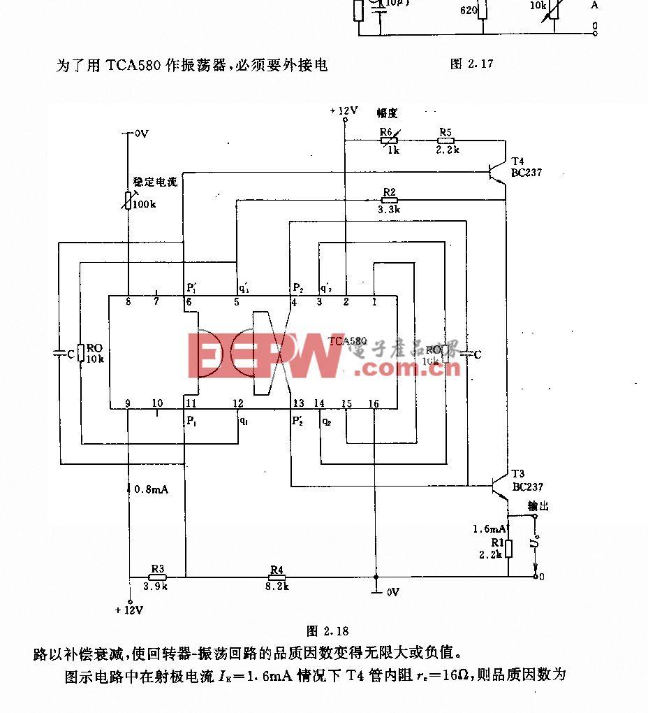 采用TcA580的低频振荡器电路