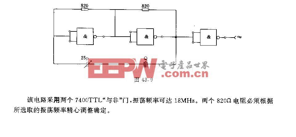 """采用""""与非""""门的石英晶体振荡器电路"""