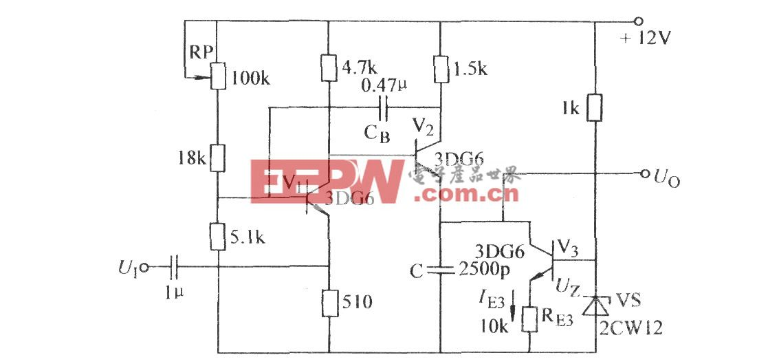 用晶体管代替放电电阻的自激锯齿波电路