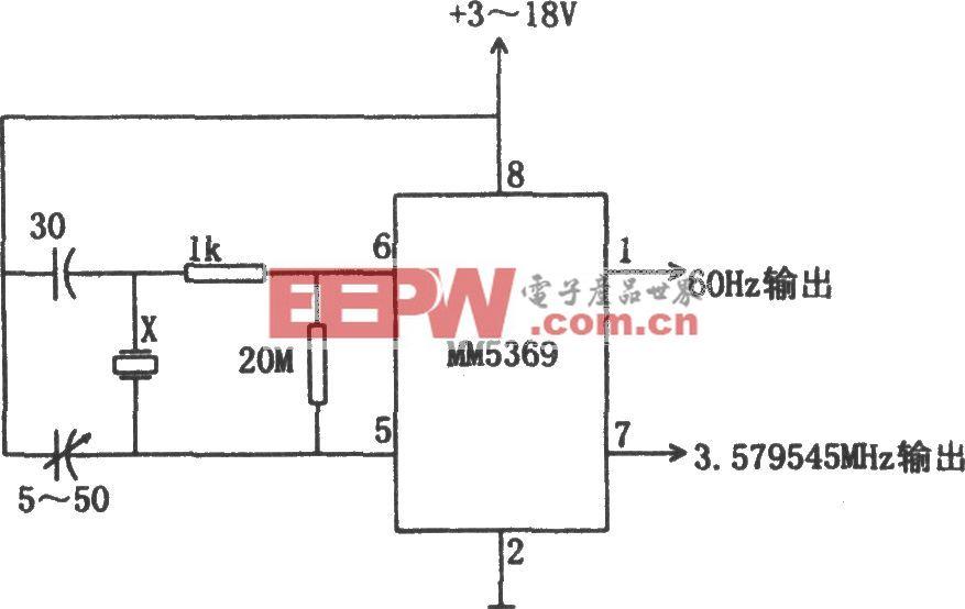 MM5369构成的60Hz时基发生器