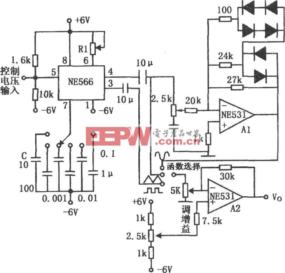 正弦波、方波和三角波发生器(NE566、NE531)