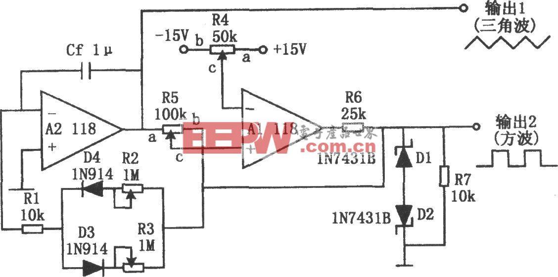 稳定的方波和三角波发生器(118)