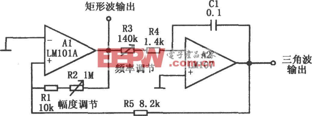 具有三角波和矩形波输出的振荡电路(LM107、LM101A)