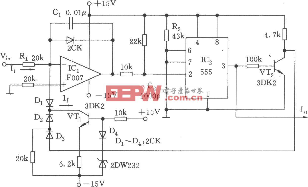 555构成的线性电压/频率变换器电路(四)