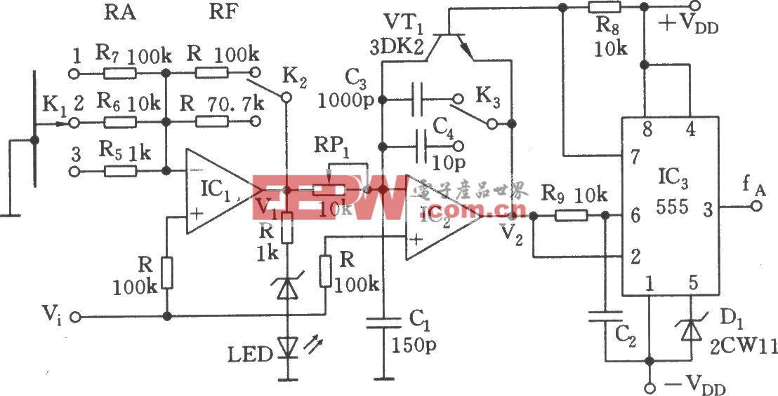 555构成的线性电压/频率变换器电路(二)