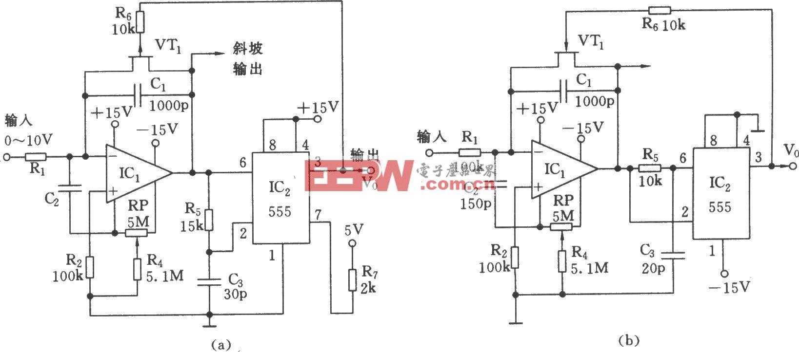 555构成的线性电压/频率变换器电路(三)