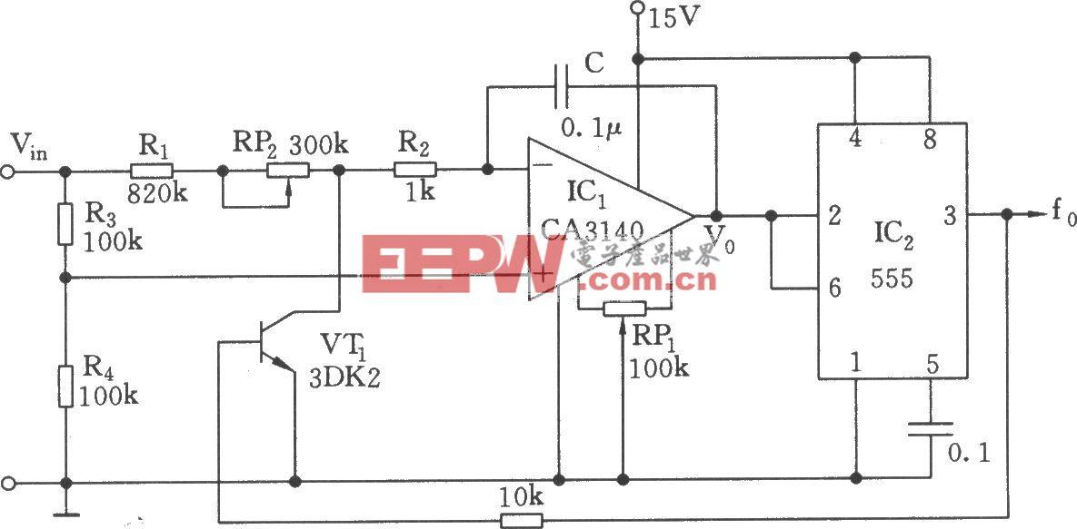 低转换系数的电压/频率转换器(555)