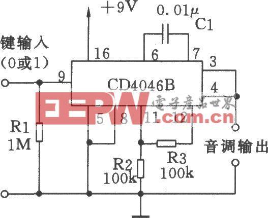 由CD4046B组成的频移键控(FSK)方波发生器