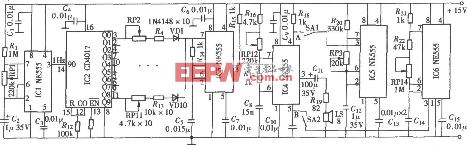 音乐音阶信号发生器(NE555、CD4017)