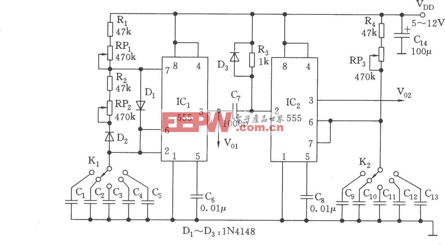 频率和脉宽可变的波形产生器(555)