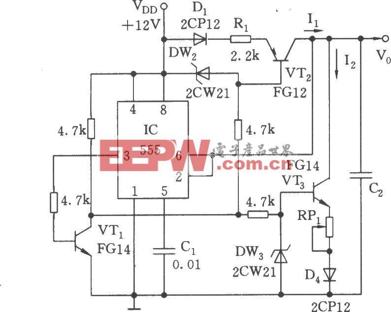 可调节的对称三角波发生器电路(555)