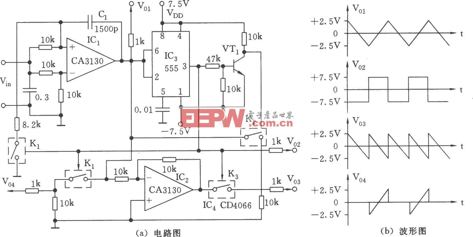 555构成的多种波形发生器电路(二)