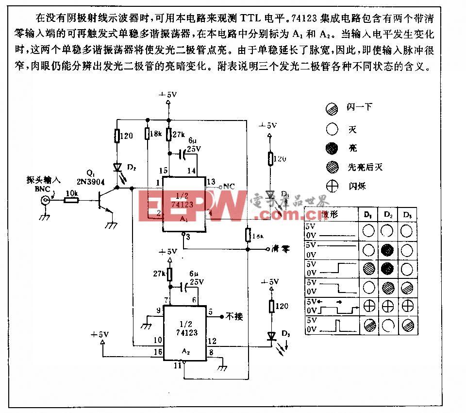 发光二极管显示TTL电乎的电路