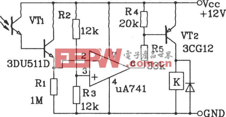 达林顿型光敏三极管光触发开关应用电路