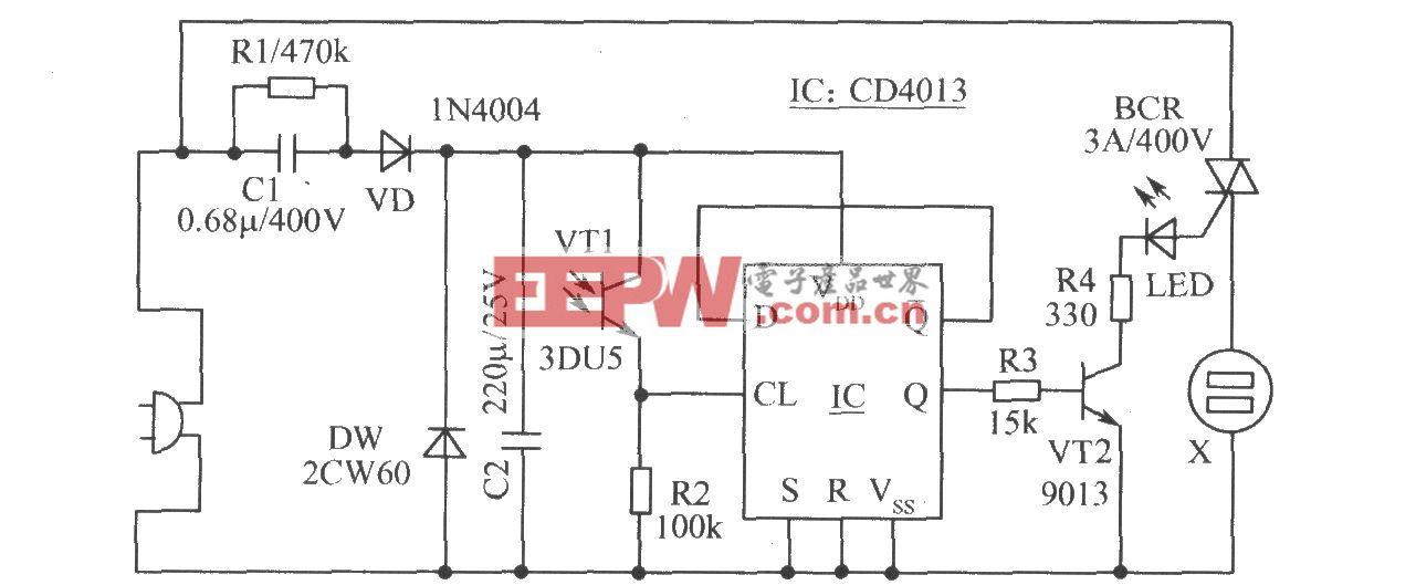 加装的VCD机遥控开、关机电路