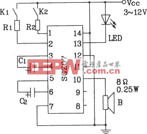 由SGZ07声、光报警集成电路构成控制报警电路