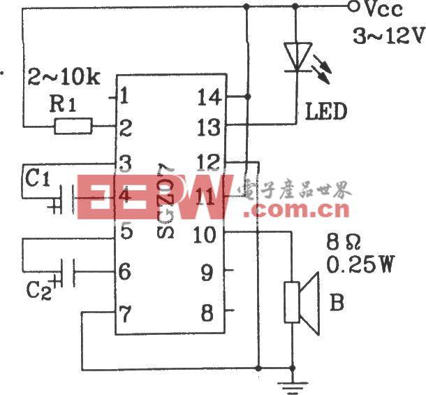 由SGZ07声、光报警集成电路构成双频率声、光信号源电路