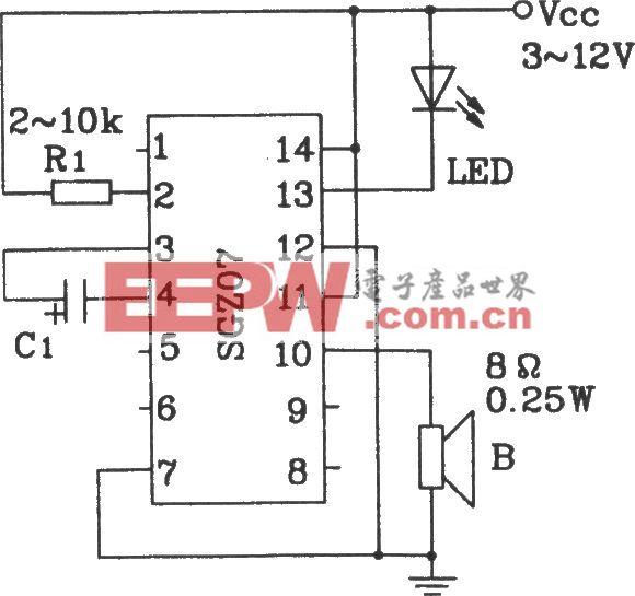 由SGZ07声、光报警集成电路构成单频率声、光信号源电路