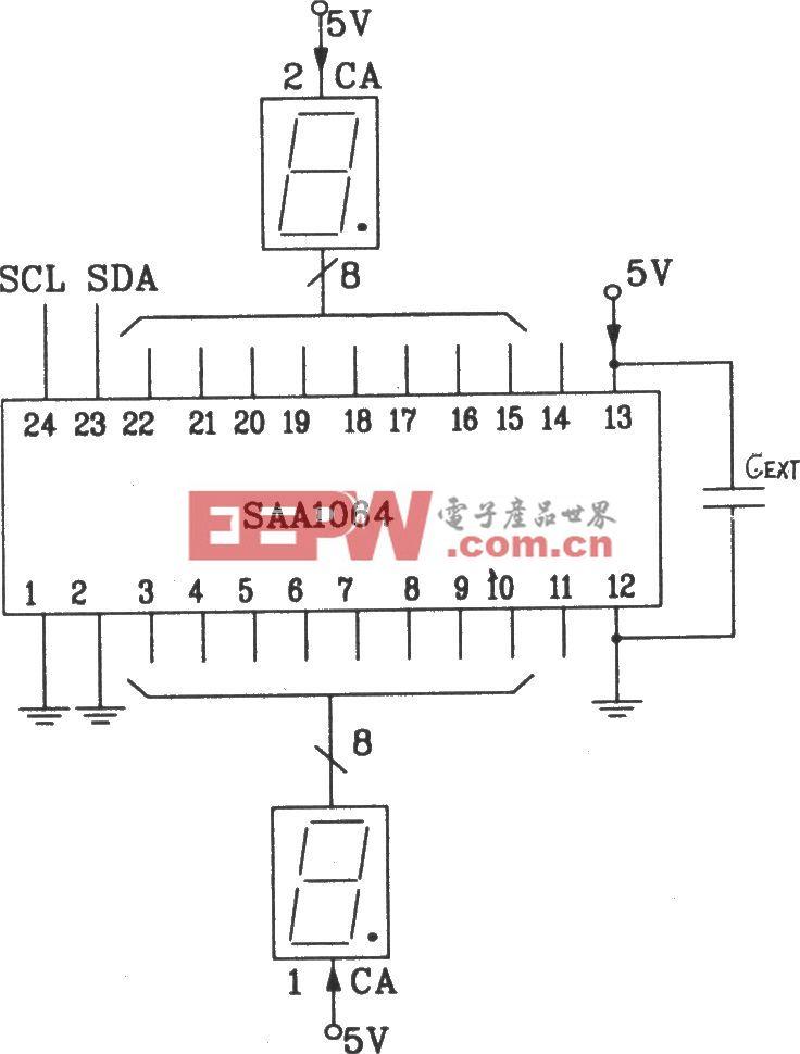 SAA1064串行I2C总线LED显示驱动集成电路静态驱动接口电路