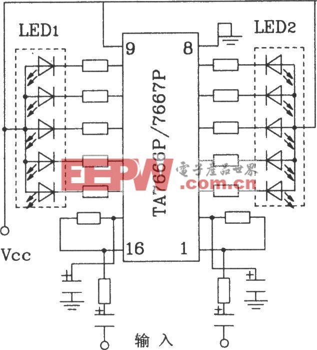 HA7666P/TA7667P構成兩條5點LED顯示驅動電路