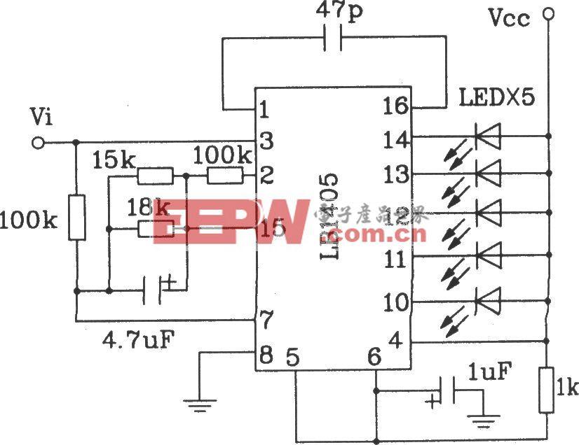 LB140五位LED电平指示驱动集成电路典型应用电路
