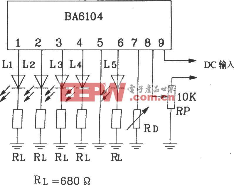 BA6104五位LED电平表驱动集成电路基本应用电路