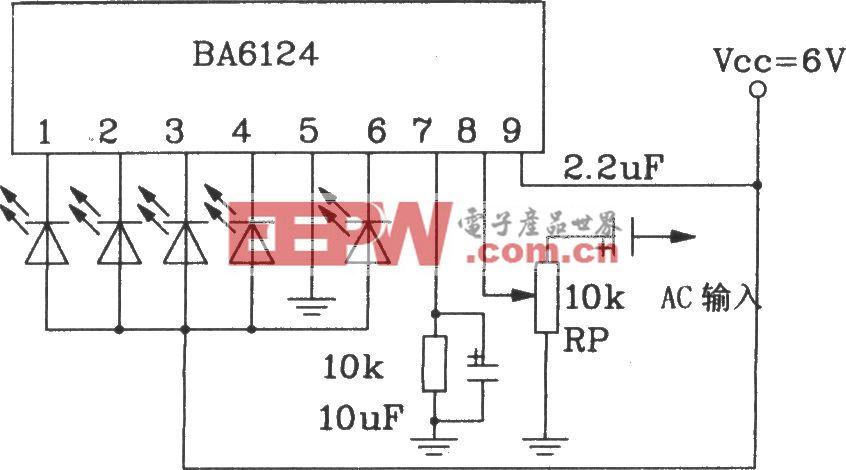 BL6124五位LED电平表驱动集成电路基本应用电路