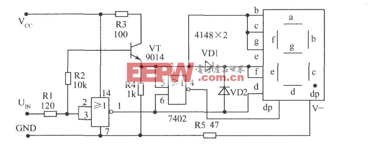 通过点亮小数点dp指示开路(未测试)状态的电平测试电路