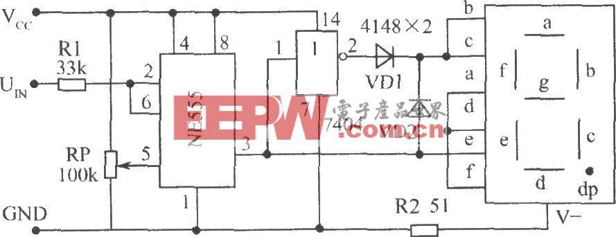 使用单时基电路NE555构成的电平测试电路