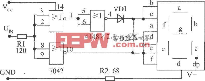 使用TTL或非门接成反相器配用共阴极数码管构成的电平测试电路