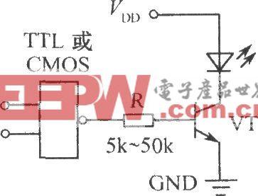 数字电路控制闪烁发光二极管的电路图