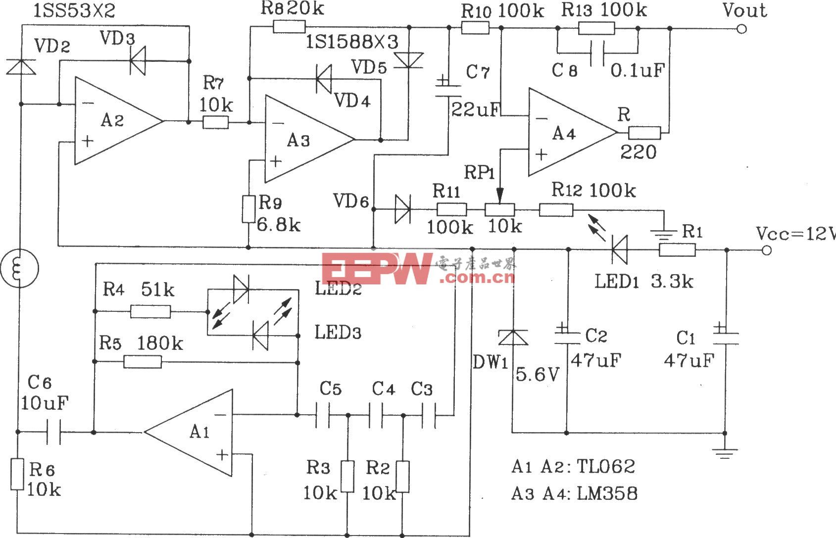 阻抗式濕敏元件簡單應用電路