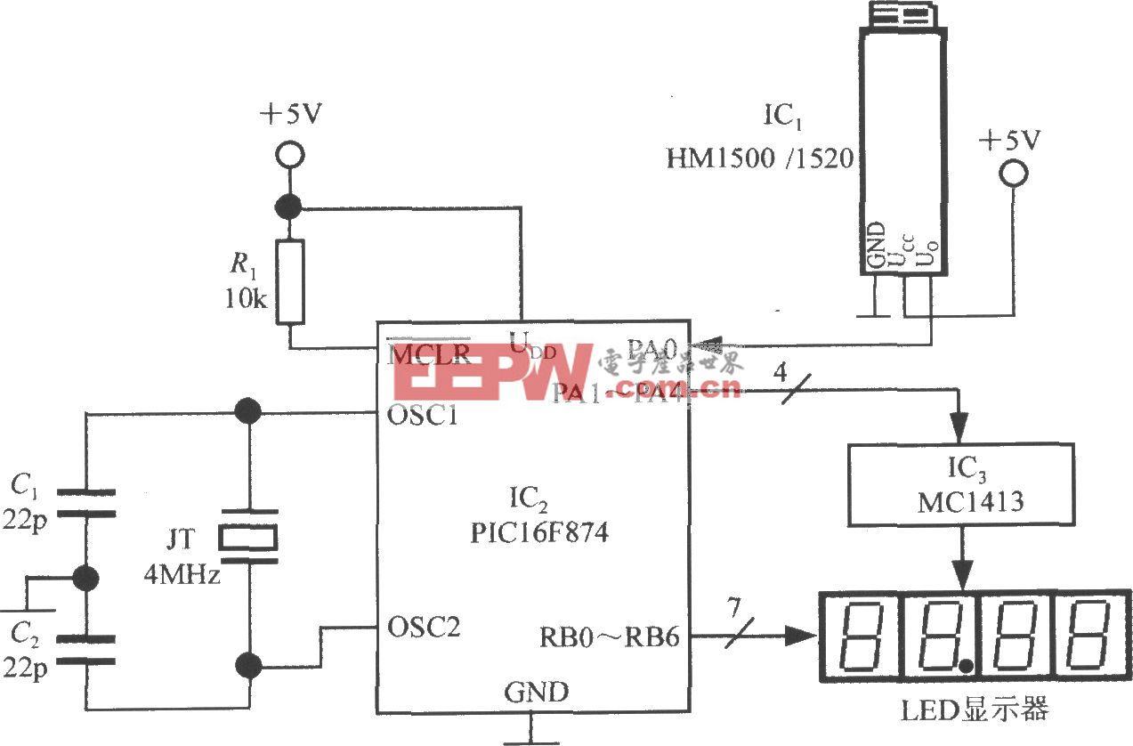由電壓輸出式集成濕度傳感器HM1500/1520和單片機構成的智能濕度測量儀電路