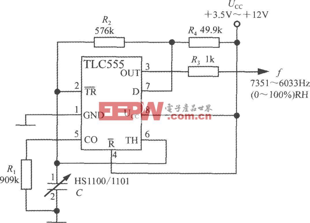 线性频率输出式相对湿度测量电路(湿度传感器HS1100/1101)