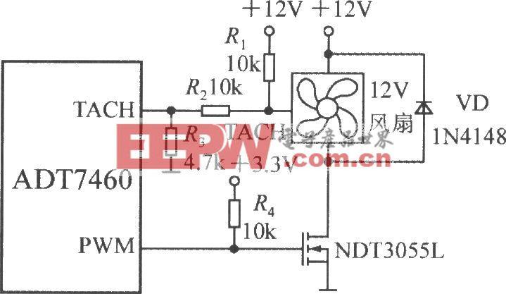 驅動一臺三線風扇的電路(智能化遠程熱風扇控制器ADT7460)