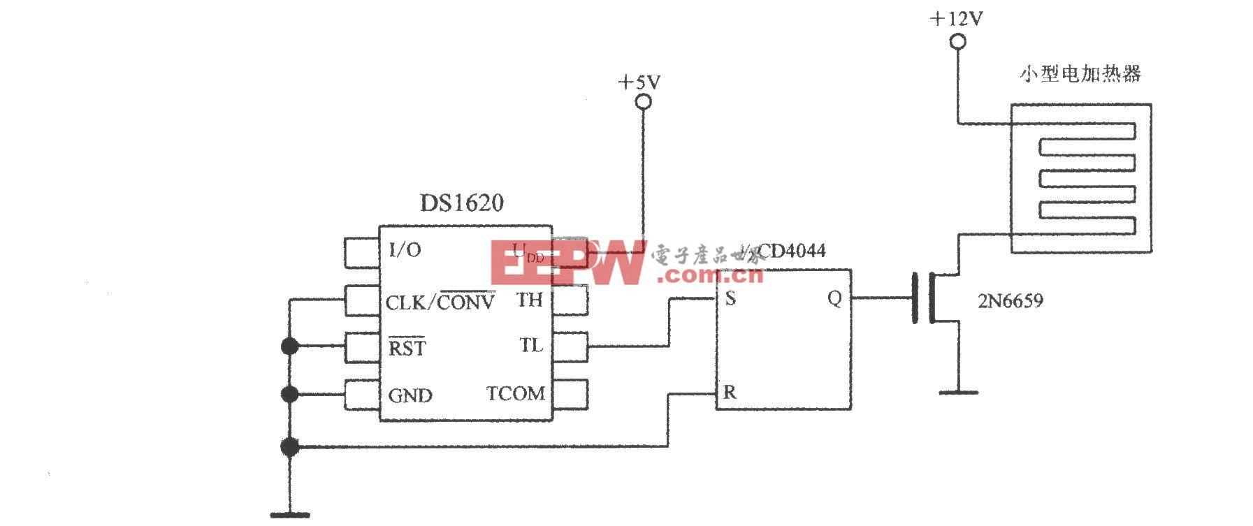 由带三线串行接口智能温度传感器DS1620构成的小型电加热器的控温电路